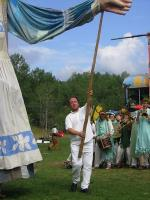 Puppeteer with arm pole at Bread and Puppet Circus in Glover, Vermont