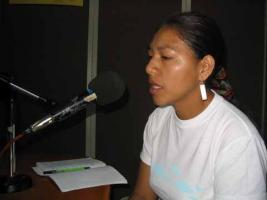 Dora on the Microphone at Radio Payumat in the Cauca Region of Colombia